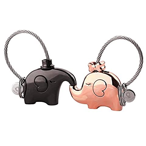 TankerStreet Cute Couple Keyrings Keychains Kissing Elephants Key Ring Set, Sweet Gift for Charismas Birthday Valentine's Day Anniversary Wedding, Cute Gift Set for Mother Daughter Sister 2pcs (Gun Black + Rose Gold)