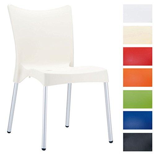 Clp sedia esterno xxl juliette - sedia giardino o cucina in polipropilene e alluminio i sedia bar impilabile con schienale i portata max 160 kg crema