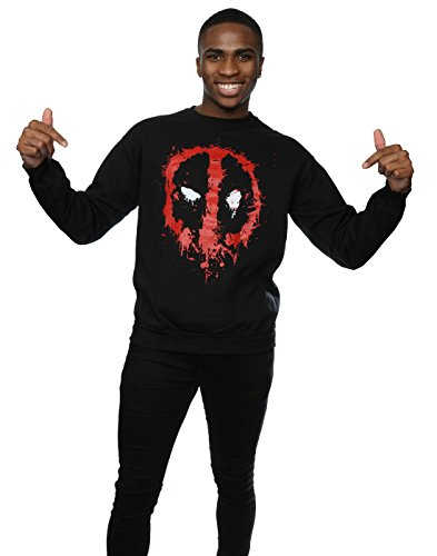 Marvel Herren Deadpool Splat Face Sweatshirt Schwarz