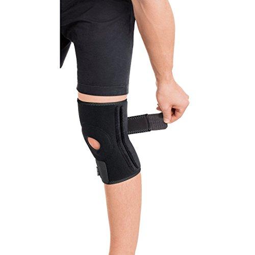Neopren Kniebandage mit Stabilisatoren - Kniestütze - Knieorthese Knieschutz mit Klettverschluss verstellbare mit 4 Rippenversteifungen Schwarz Large