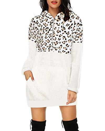 Auxo Sudadera con Capucha Mujer Pullover Hoodie Leopardo Jersey Larga Bolsillos Casual Sudadera Vestido Tops Largos 06-Beige L
