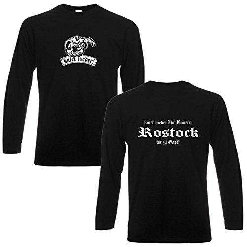 Longsleeve Rostock kniet nieder Ihr Bauern Fan Städteshirt, Herren langarm T-Shirt, bedrucktes Langarmshirt auch große Größen S-6XL (SFU12-19b) Mehrfarbig