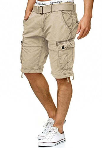 Indicode Herren Bolton Cargo Shorts Bermuda Kurze Hose inkl. Gürtel aus 100{d7bbbf9a1e4f5e2c91760108ab67adf411b4dcffee8ef91a19a1f9049970d39f} Baumwolle Regular Fit Fog L