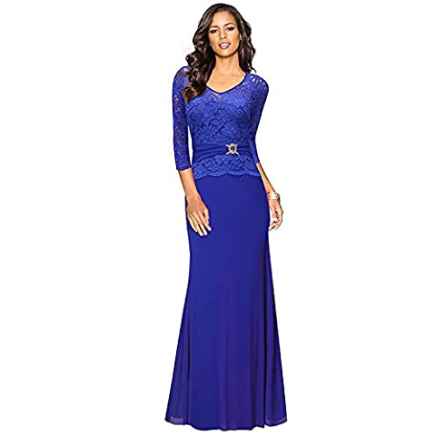 WSX&PLM Women Lace Stitching Two Pieces Of Leather Belt Decoration Slim Evening Dress Dress , blue , xl