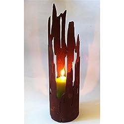 Windlicht Treibholz -groß 60 cm - Edelrost Windlicht inkl. Metallherz Danke
