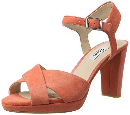 Clarks Damen Kendra Petal Pumps Orange (Coral Suede)