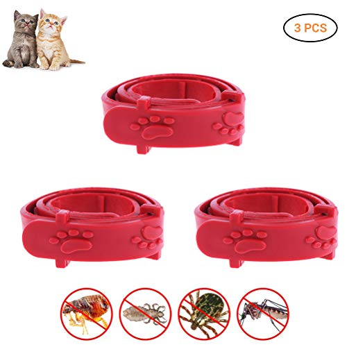 Weesey 3 Pcs Red Einstellbare Haustier Katze Anti Flohmilbe Tick Kragen Remedy Cat Collar Pet Supplies