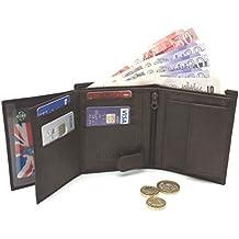 Ods:Uk® - Cartera para hombre de lujo, suave piel, tríptica, con compartimentos para tarjetas de crédito, ventana para DNI y bolsillo para monedas