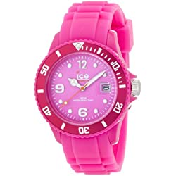 Ice-Watch Unisex Quartz Watch with Pink Dial Analogue Display and Pink Silicone Strap SS.NPE.U.S.12