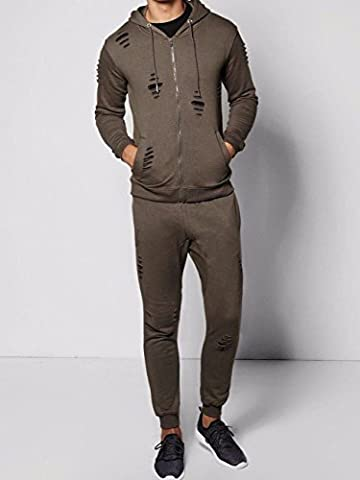 RockBerry Mens Ripped Tracksuit Skinny Zipper Hooded Jacket Slim Joggers Pants Sweat Suit( LARGE,