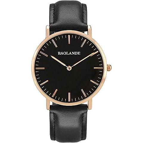 Alienwork Classic St.Mawes Reloj cuarzo elegante cuarzo moda diseño atemporal clásico Piel de vaca oro rosa negro