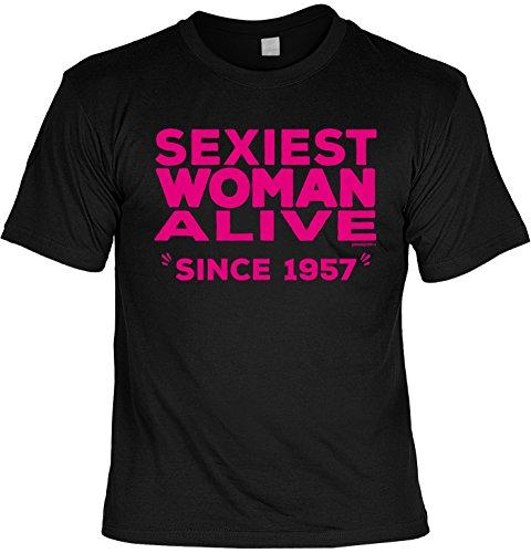 Cooles T-Shirt zum 60. Geburtstag Sexiest Woman Alive Since 1957 Geschenk 60. Geburtstag 60 Jahre Geburtstagsgeschenk lustiges Tshirt zum Geburtstag Schwarz