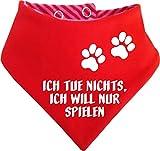 KLEINER FRATZ Gestreiftes Hunde Wende- Halstuch (Fb: Rot-Fuchsia/Rot) (Gr.3 - HU 36-42 cm) Ich Tue Doch Nichts Ich Will Nur Spielen
