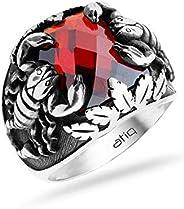 عتيق خاتم رجالي، فضة استرليني ، 925 فضة - احمر