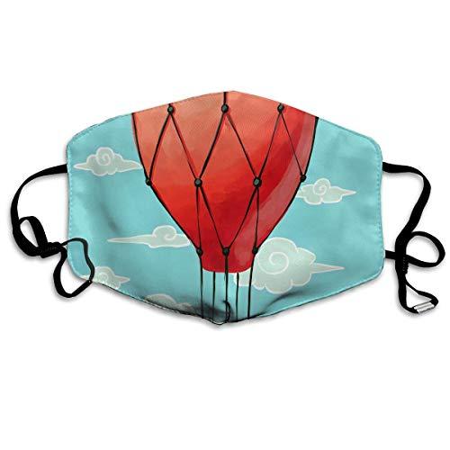 Vbnbvn Unisex Mundmaske,Wiederverwendbar Anti Staub Schutzhülle,Hot Air Balloons Clouds Adult Creative Mouth-Masks Washable 100% Polyester Comfortable Breathable Health Anti-Dust Half Face Masks