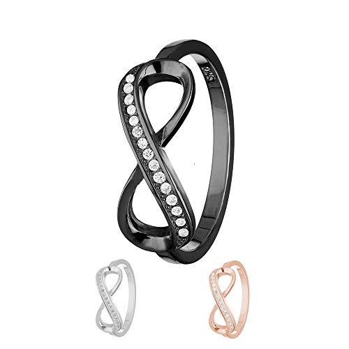Treuheld Ring - 925 Silber - Unendlichkeit - Kristalle [16.] - schwarz 52