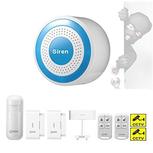 JC Multifunktions Haus Sicherheit- Alarmanlagen Host & Siren Set, 433MHz Funk Alarmanlage,mit PIR-Detektor, Tür-Fenster-Sensor, Fernbedienung, Wasserleckagesensor und Warnaufkleber
