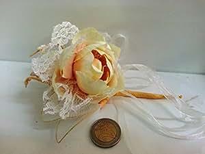 Set 12 pezzi, Bomboniera fiore bouquet con MERLETTO + racchettine portaconfetti. (ck1793) (BEIGE)