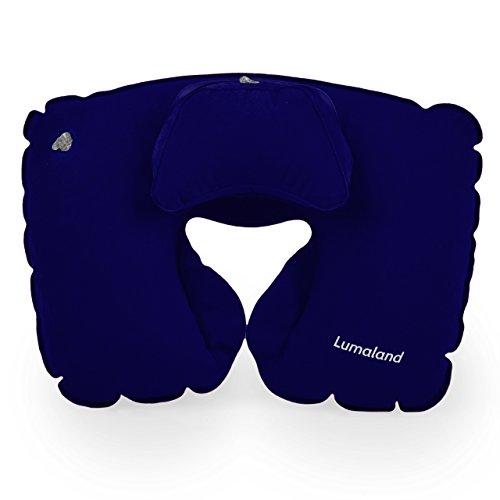 Lumaland Comfort Nackenhörnchen Reisekissen aufblasbares Nackenkissen in verschiedenen Farben Navy Blau