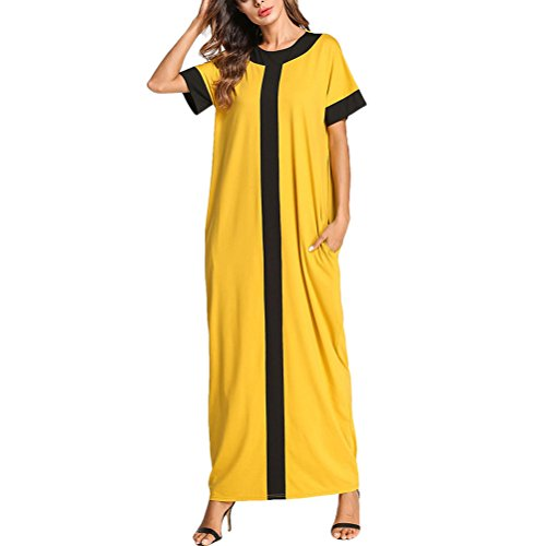 Zhhlaixing Verano Cuello Redondo Manga Corta Vestidos Largo Arabia Saudita Marroquí Long Kaftan Caftanes para Mujeres Dubai