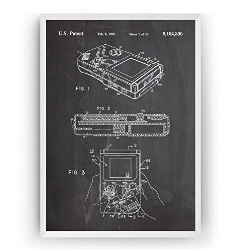 Game Boy Patent Poster - Gamer Gaming Print Gift Vintage Blueprint Retro Girls Boys Video Games Room Wall Art Bedroom Original Decor Merchandise Classic Old Antique - Frame Not Included (Gamer Ps3)