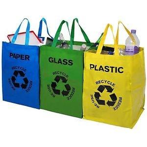 FiNeWaY@ - Juego de 3bolsas de reciclaje con código de color para plástico, vidrio y papel