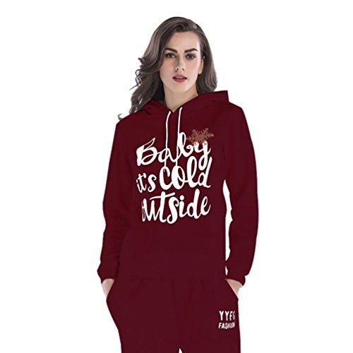 NiSeng Felpa Con Cappuccio 1 Pezz Sweatshirt Fiocchi Di Neve Di Natale Felpa Tute 2 Pezzi Sweatshirt Pullover Felpa Con Cappuccio +Pantaloni Tute Vino Rosso