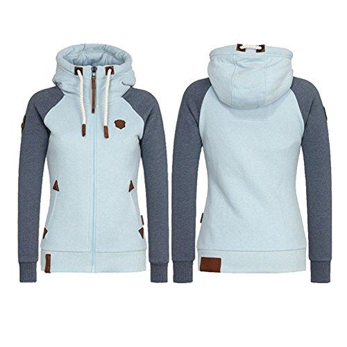 Kootk Femmes Zip Veste Sweat-shirt Dames Hoody Cardigan Zip *: français Up Sweat à capuche Vestes Plus Taille Pullover Tops Outwear Rose Noir Bleu M - 5XL Bleu