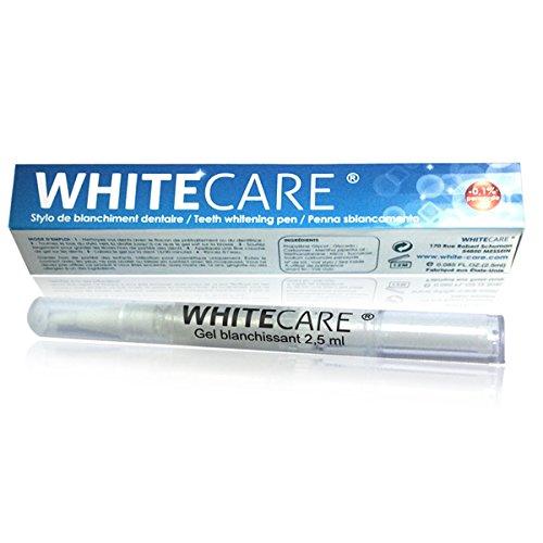 Stylo Blanchiment des Dents Goût Menthe White Care | Stylo dent blanche, plus simple que kit blanchiment dentaire ou bandes de blanchiment des dents, à appliquer directement sur les dents | Nettoie et blanchit les dents | Développé dans notre laboratoire White Care, le gel est 100% normes françaises