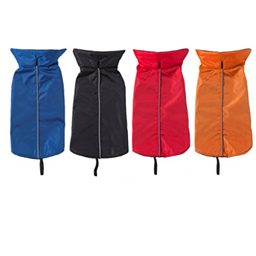 QHGstore Wasserdichte Hundeweste Mantel-Jacke Raincoat Reflective Fleece Hunde-Bekleidung Blau& M