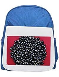 Fotomax Blackcurrants Mochila Estampada para niños, Bonitas Mochilas, Bonitas Mochilas pequeñas, Mochila Negra