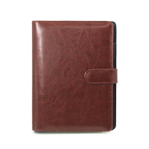 A5Ringbuch Folio PU Leder nachfüllbar Loose Leaf Business Notebook Portfolio Executive Konferenzmappe Travel Portfolio Milchprodukte Notebook 95Seiten 23.5*17*2.5cm rotbraun (4x6 Portfolio-buch)