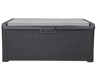 Kissenbox Santo Rattan Optik Sitztruhe inkl. passender Auflage Auflagenbox anthrazit 560 Liter XXL