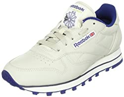 Reebok Womens Classic Leather Training Running Shoes Beige (Ecru/Navy) 9.5 UK