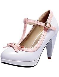 e0f36fc82720 YE Chaussures Mary Jane Escarpins Talon Haut Bloc Automne Rockabilly Femme  Plateforme Bride Cheville Boucle Chunky Heels avec…