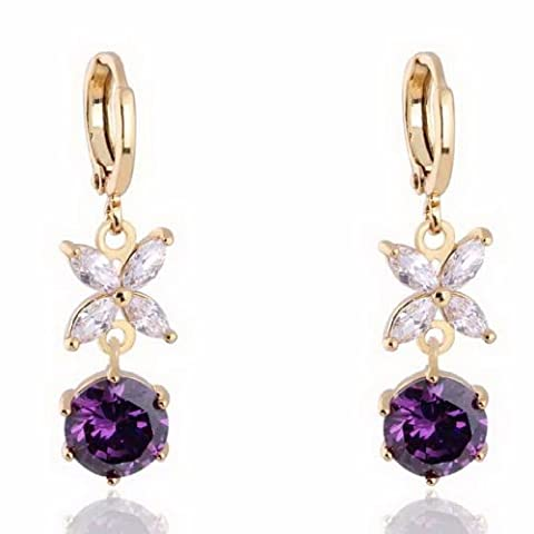 EOZY Boucle d'oreille Pendante pour Femme 18K Or Jaune Plaqué en Laiton en Forme de Fleur Perle Diamètre 12mm (Violet)