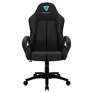 ThunderX3 BC1 – Silla Gaming (ergonómica, Regulable, Alta Densidad, Transpirable), Negro