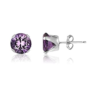 10MM Classic Brilliant Round Cut CZ Sterling Silver Stud Earrings - AMETHYST PURPLE - or Choose From 2mm to 12mm. 10-AME