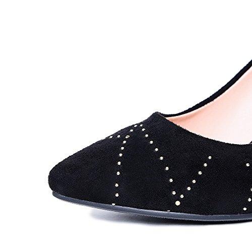 VogueZone009 Femme à Talon Correct Dépolissement Mosaïque Pointu Chaussures Légeres Noir
