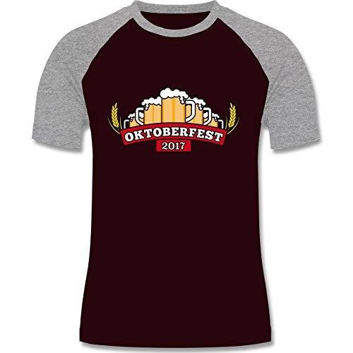 Oktoberfest Herren - Oktoberfest 2017 Krüge - zweifarbiges Baseballshirt für Männer Burgundrot/Grau meliert