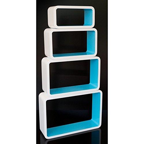 Lot de 4 étagères cubes murale rangement blanc et bleu ETA06014