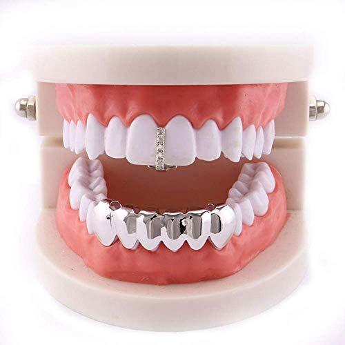Dental Kostüm - 24 Karat vergoldete Grillz für Unisex Kreative vergoldete Hip Hop Bling Zahn Set Top \u0026 Bottom Grill Zahnkappen - Hochglanz für Erwachsene Kostüm Partyzubehör Zahngrills Dental Grills