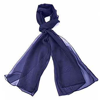Classic Plain Chiffon Scarf Light Weight & SOFT See-Through Semi Opaque Fabric 47 x 160cm (18.5 x 62 inch)- Luxurious Finishing Touch To Any Outfit Perfect Daily Neck Wrap Scarves For Men & Women (Navy)