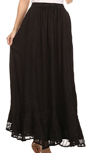 Sakkas SK16319 - Jaclyn Adjustable Skirt With Lace Embroidered Trim And Detailed Embroidery- Schwarz-OS (Lace Baumwolle Rock)
