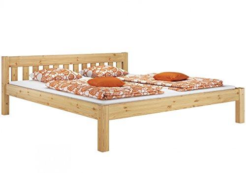 Erst-Holz® Doppelbett Kingsizebett 180x200 Massivholz Kieferbett Natur Futonbett mit Rollrost 60.38-18