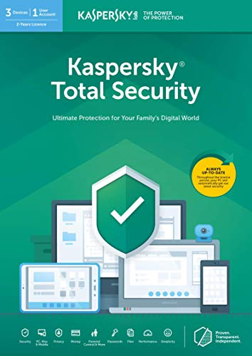 Kaspersky Total Security 2020 | 3 Devices | 2 Years | PC/Mac/Android | Online Code