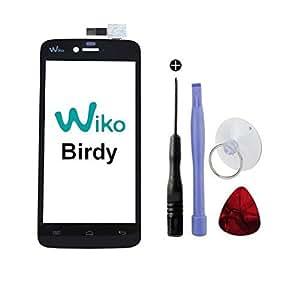 Vitre Tactile d'Origine avec Logo pour WIKO Birdy + Adhésif Double Face 3M et Outils (Vendu sans écran LCD)