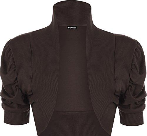 WearAll - Damen Übergröße Rüsche Bolero Top - 10 Farben - Größe 44-54 Braun