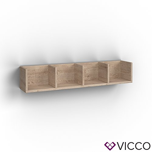 VICCO Wandregal 90 cm Sonoma Eiche - für CD DVD PC Spiele Cover Medienregal Regal Archiv Mediathek