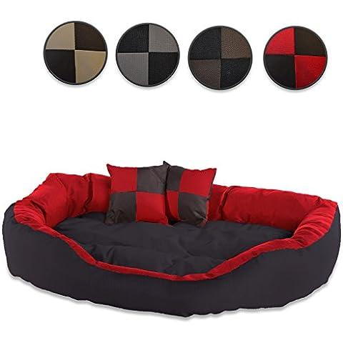 Cama para perros, Colchón para perros (110x80x23 cm, negro/rojo)